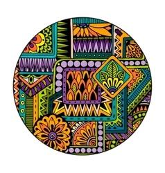 Ethnic tribal pattern in circle Mosaic mandala vector image