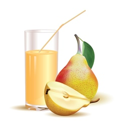glass with juice pear with leaf and half of pear vector image