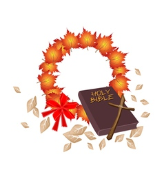 Holy Bible with Christmas Wreath of Orange Maple vector image
