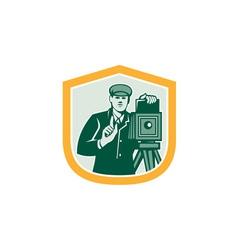 Photographer Shooting Vintage Camera Shield Retro vector image vector image