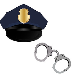 Police hat and handcuffs vector image vector image
