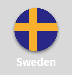 sweden flag round icon with shadow vector image vector image