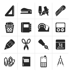 Black Business and office objects icons vector image