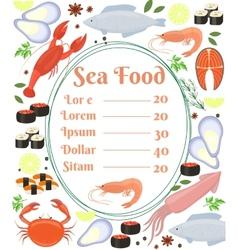 Colorful seafood menu poster vector