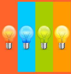 lamp idea icon set object light vector image