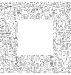 man and woman hand drawn clothes frame vector image
