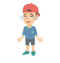 sad caucasian boy in a cap sobbing vector image