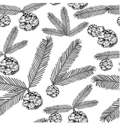 seamless pattern tree twigs and cones painted line vector image