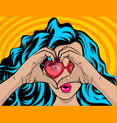 white woman wow face blue hair heart hands vector image vector image