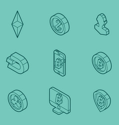 cryptocurrency outline isometric icons vector image vector image