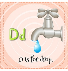 Flashcar of D is for drop vector image vector image