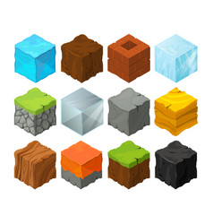 isometric blocks with different texture for 3d vector image vector image