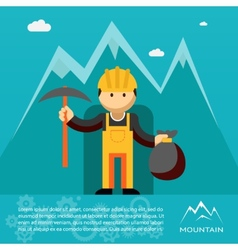 Mountain worker with pick and sack of gold vector image vector image