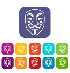 vendetta mask icons set flat vector image