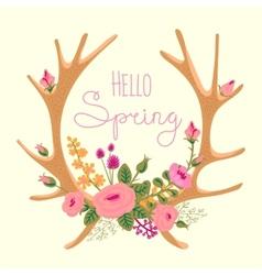 Vintage card with deer antlers and flowers vector image