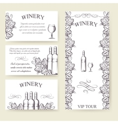 Winery bouqlet and cards templates set vector image vector image