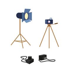 flat professional photo equipment set vector image