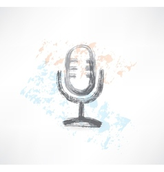 microphone grunge icon vector image vector image