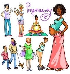 Pregnant women collection vector image
