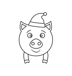a pig in hat new year icon outline vector image