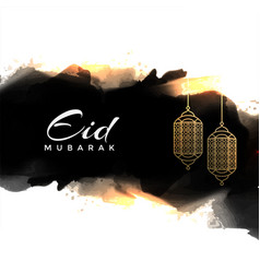 Abstract eid mubarak greeting with hanging lamps vector