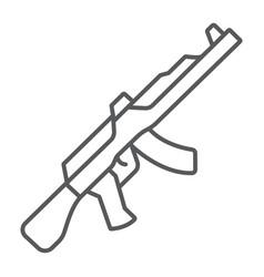 Ak47 thin line icon rifle and military machine vector