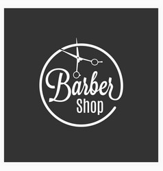 Barbershop vintage logo with barber scissors on vector