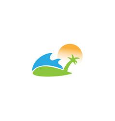 Beach and island logo design template vector