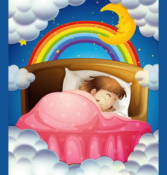 Bedtime with girl sleeping in bed vector