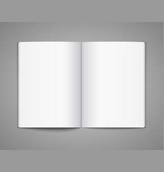 blank opened magazine template open book page vector image