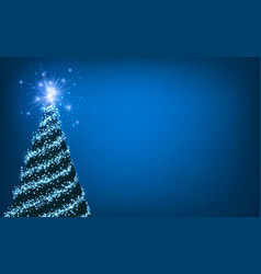 Blue background with christmas tree vector