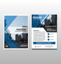 Blue triangle Brochure Leaflet Flyer template set vector