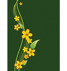 bouquet of yellow flowers on a green background vector image