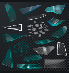 broken glass sharp pieces 3d realistic vector image