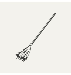 Broomstick Black and white style vector