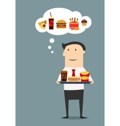 Businessman with tray of fast food vector