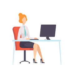 Businesswoman working with computer office vector