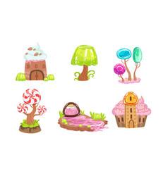 candy land set sweet fantasy landscape elements vector image
