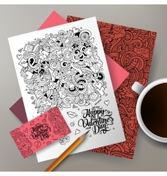 Cartoon cute colorful hand drawn doodles vector image