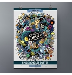 Cartoon cute doodles hand drawn space poster vector