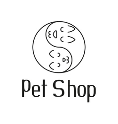 Cat and dog like Yin Yang sign for pet shop logo vector image