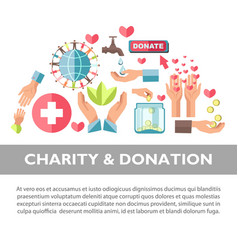Charity and donation promotional poster with vector