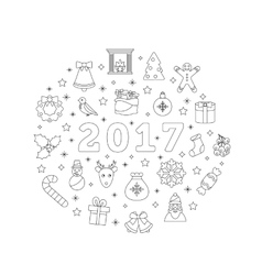 Christmas Flat Icons Drawing Lines on White vector image