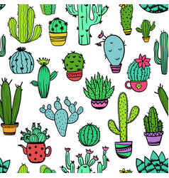 colorful seamless pattern of cactus vector image