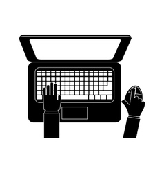 computer and hands topview icon image vector image