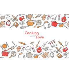 cooking flat horizontal seamless pattern with vector image