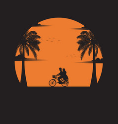 Couple driving bicycle vector