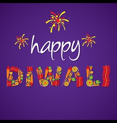 creative happy diwali greeting design by cracker vector image