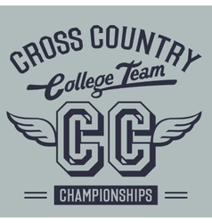 Cross Country College Team t-shirt design vector