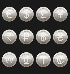 Currency coins metal platinum with highlights set vector